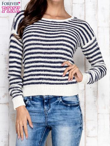 Granatowy sweter w paski                                  zdj.                                  1