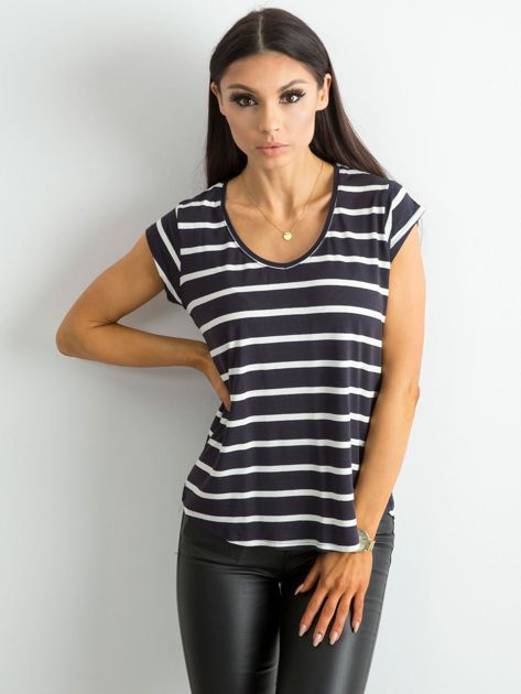 Granatowy t-shirt damski w paski                              zdj.                              1