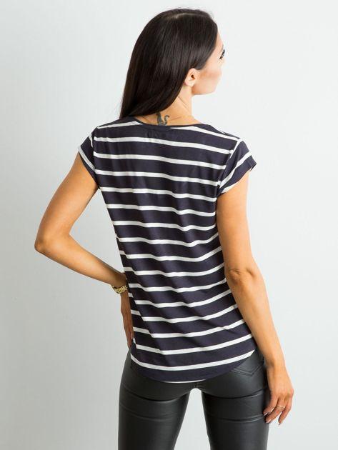 Granatowy t-shirt damski w paski                              zdj.                              2