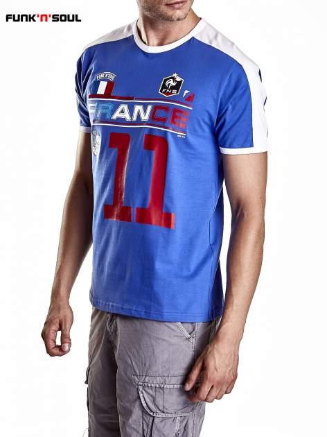 Granatowy t-shirt męski z napisem FRANCE Funk n Soul                                  zdj.                                  3