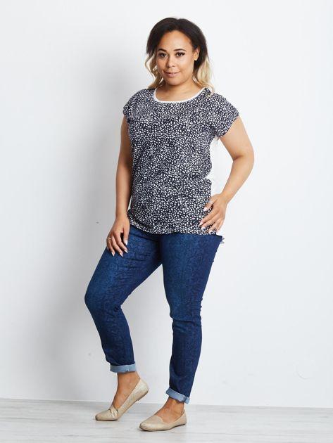 Granatowy t-shirt plus size Finer                              zdj.                              4