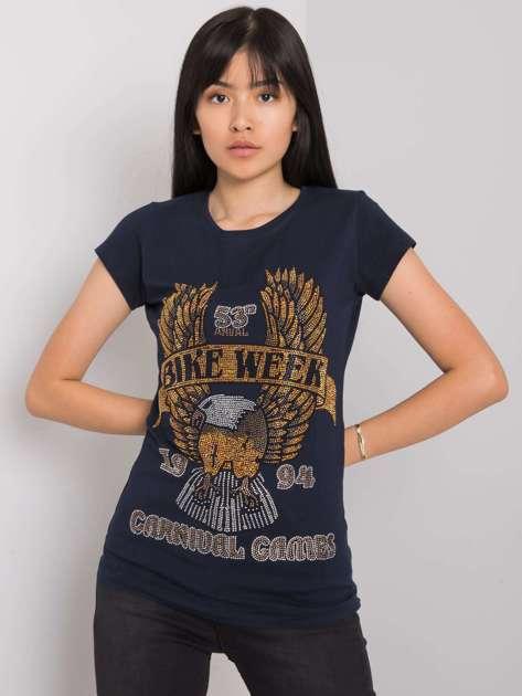 Granatowy t-shirt z aplikacją Haley