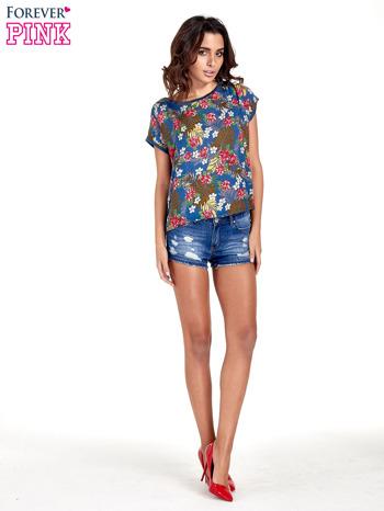 Granatowy t-shirt z nadrukiem kwiatowym                                  zdj.                                  2