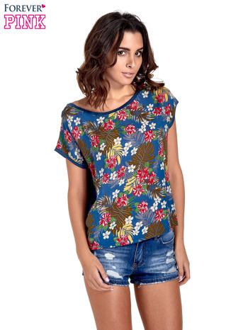 Granatowy t-shirt z nadrukiem kwiatowym                                  zdj.                                  1