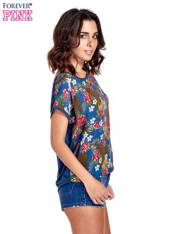 Granatowy t-shirt z nadrukiem kwiatowym                                  zdj.                                  3