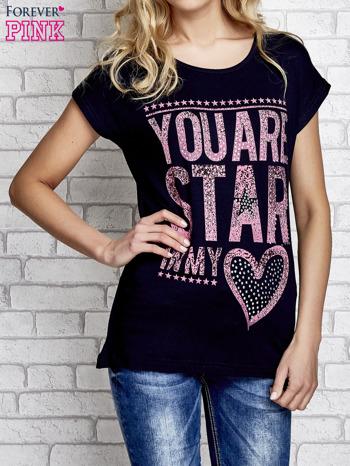 Granatowy t-shirt z napisem YOU ARE STAR IN MY HEART z dżetami