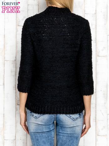 Granatowy wełniany sweter z dłuższym włosem                                  zdj.                                  2