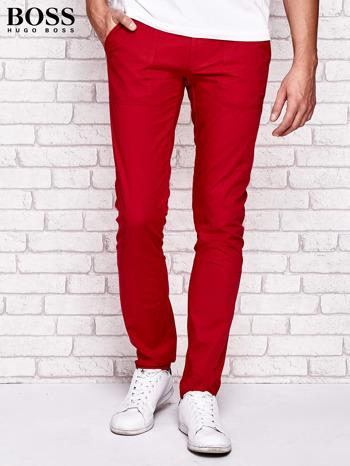 HUGO BOSS Czerwone spodnie męskie z przeszyciami                                  zdj.                                  1