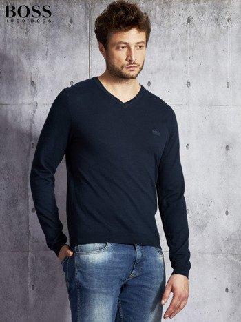 HUGO BOSS Granatowy sweter męski w serek                              zdj.                              3
