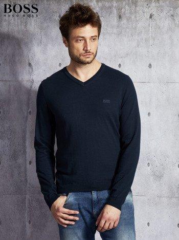 HUGO BOSS Granatowy sweter męski w serek                              zdj.                              1