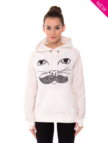"""HipsterCat' Biała bluza z nadrukiem kota"