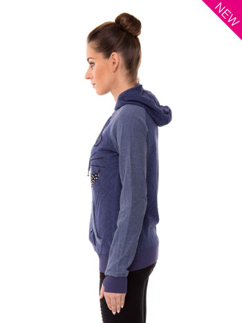 """HipsterCat' Niebieska bluza z nadrukiem kota                                  zdj.                                  3"