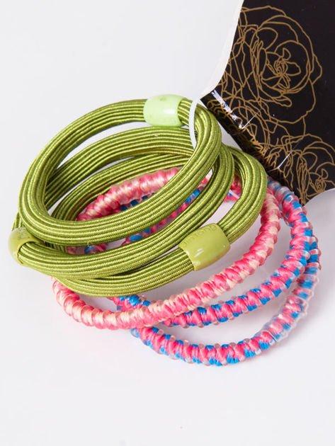 INCA Komplet kolorowych gumek do włosów w odcieniach zieleni i różu 6 szt.                              zdj.                              1