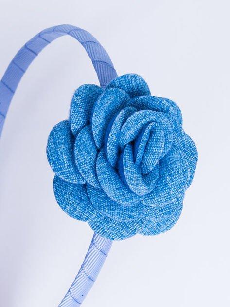 INCA Opaska do włosów niebieska z ozdobną różą                              zdj.                              3