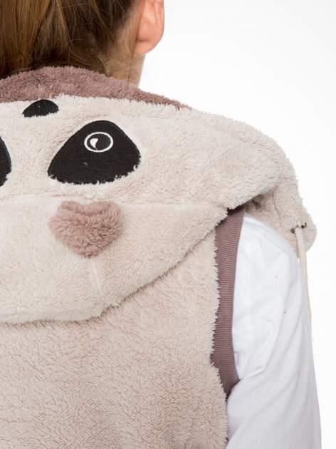 Jasnobeżowa pluszowa kamizelka panda z kapturem z uszkami i pomponami                                  zdj.                                  8