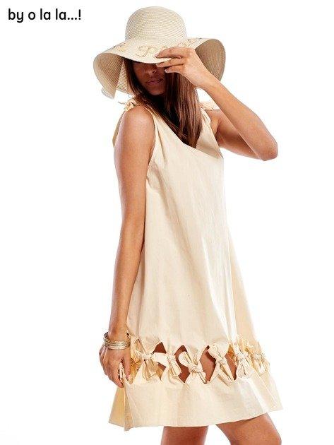 Jasnobeżowa sukienka z kokardkami BY O LA LA                               zdj.                              7