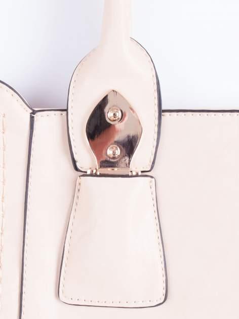 Jasnobeżowa torba shopper ze stębnowaniem                                  zdj.                                  5