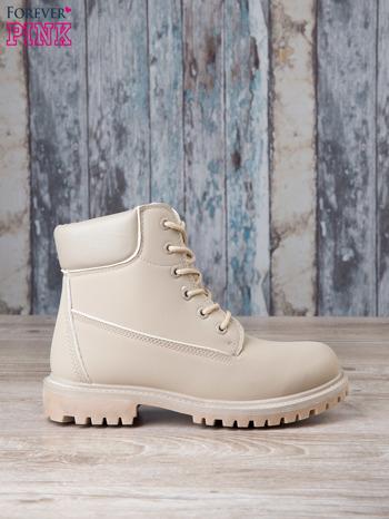 Jasnobeżowe jednolite buty trekkingowe damskie Westie traperki ocieplane                                  zdj.                                  1