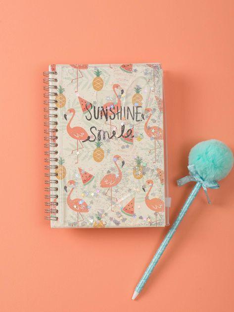 Jasnobeżowy notes we flamingi                              zdj.                              4