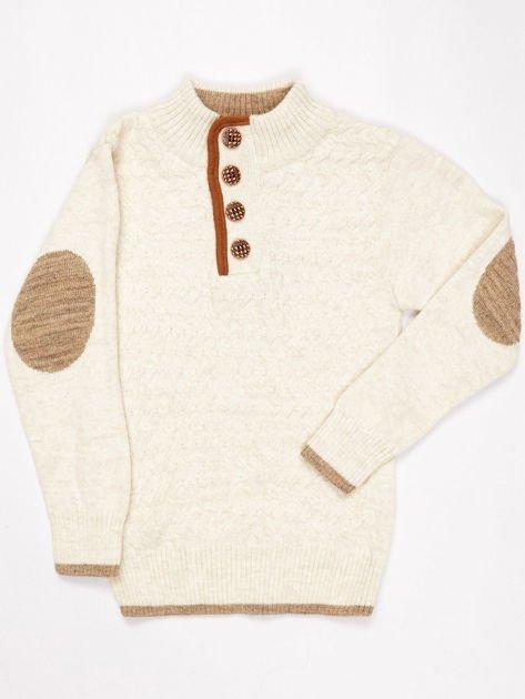 Jasnobeżowy sweter dla chłopca z plecionym wzorem                              zdj.                              5