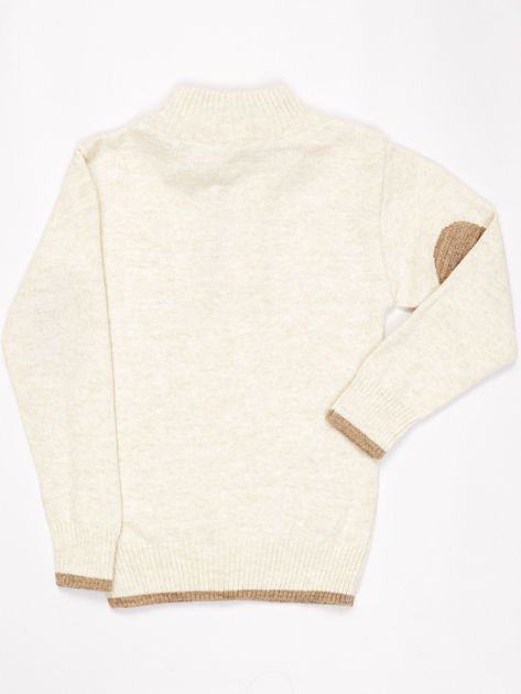 Jasnobeżowy sweter dla chłopca z plecionym wzorem                              zdj.                              6