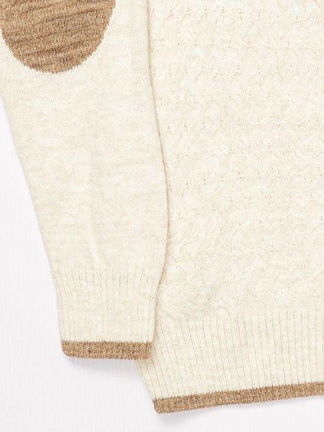 Jasnobeżowy sweter dla chłopca z plecionym wzorem                              zdj.                              4