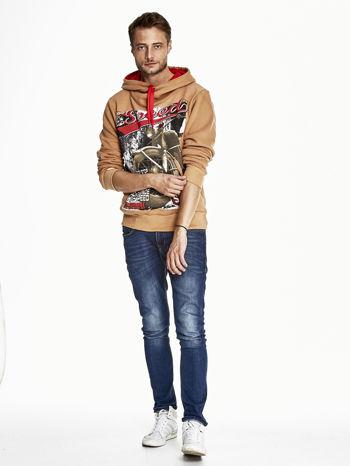Jasnobrązowa bluza męska z kapturem z napisem SPEED                                  zdj.                                  4