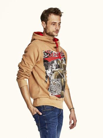 Jasnobrązowa bluza męska z kapturem z napisem SPEED                                  zdj.                                  3