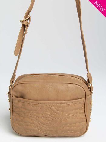 Jasnobrązowa mała torebka listonoszka z dżetami                                  zdj.                                  2