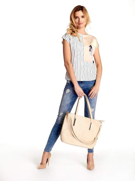 Jasnobrązowa prosta torba shopper bag                                  zdj.                                  6