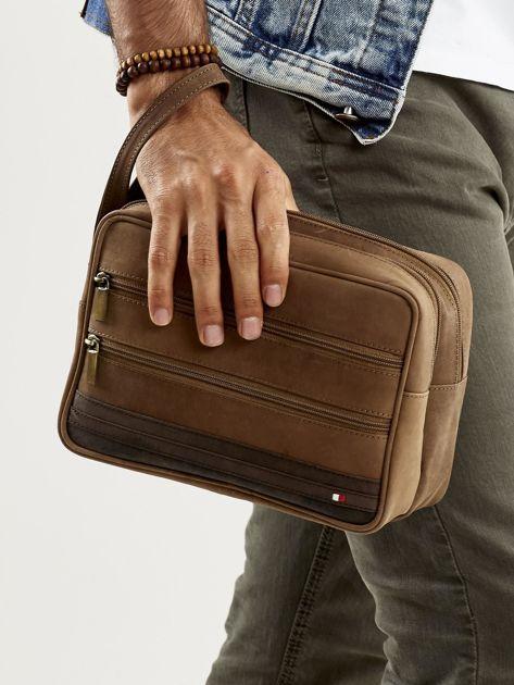 Jasnobrązowa skórzana torba męska do ręki z uchwytem                              zdj.                              1
