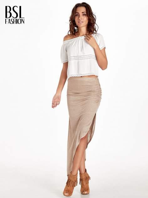 Jasnobrązowa spódnica maxi z drapowaniem i rozporkiem z boku                                   zdj.                                  7
