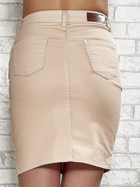 Jasnobrązowa spódnica z zapięciem na guzik                                  zdj.                                  6