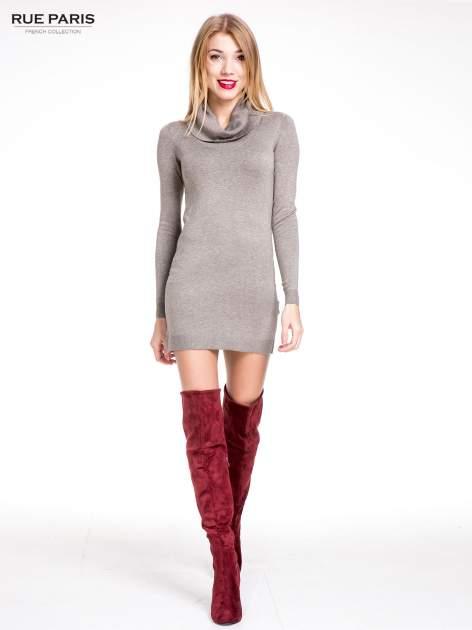 Jasnobrązowa swetrowa sukienka z golfem                                  zdj.                                  2