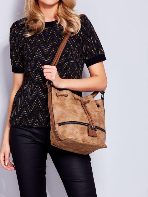 Jasnobrązowa torba z suwakami                                   zdj.                                  4