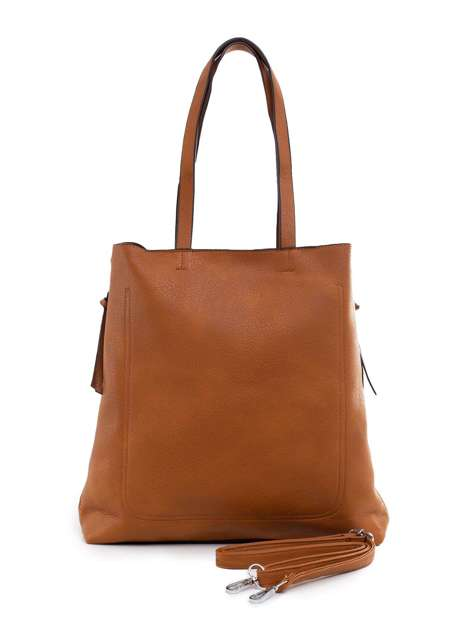 Jasnobrązowa torba ze skóry ekologicznej