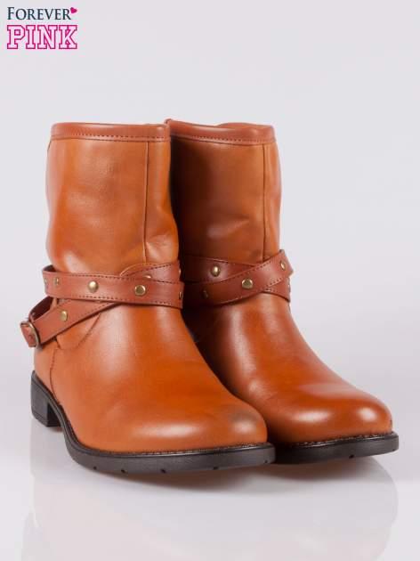 Jasnobrązowe botki w stylu biker boots                                  zdj.                                  2