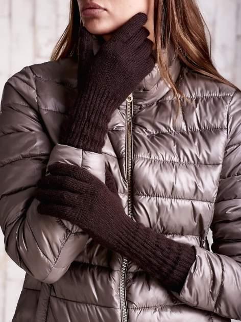 Jasnobrązowe długie rękawiczki z drapowanym rękawem                                  zdj.                                  1