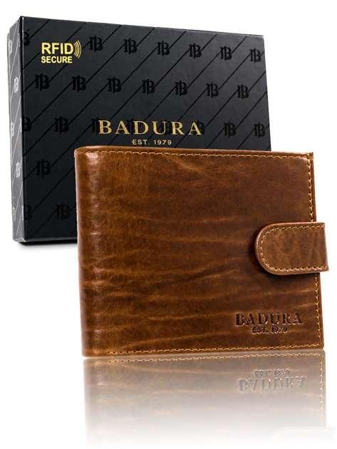 Jasnobrązowy portfel męski skórzany BADURA