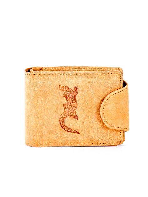 Jasnobrązowy portfel skórzany z tłoczonym krokodylem                              zdj.                              1
