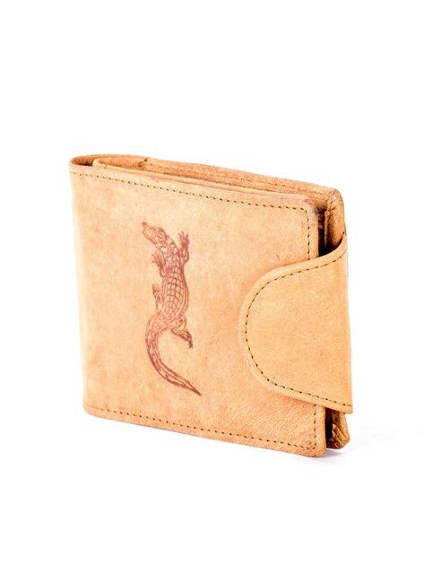 Jasnobrązowy portfel skórzany z tłoczonym krokodylem                              zdj.                              3