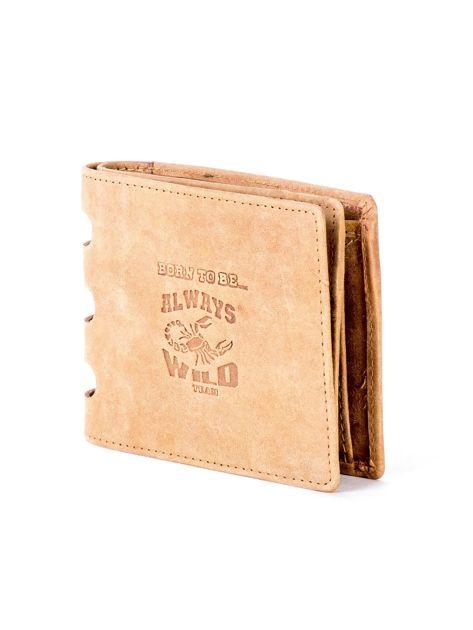 Jasnobrązowy portfel ze skóry z wycięciami                              zdj.                              3