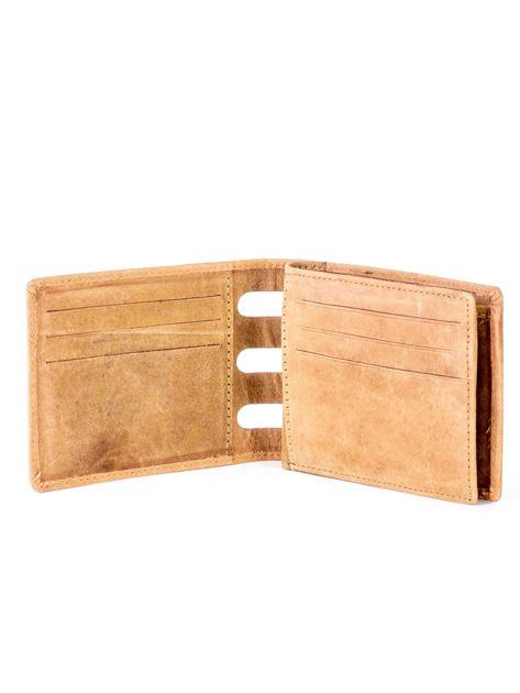 Jasnobrązowy portfel ze skóry z wycięciami                              zdj.                              4
