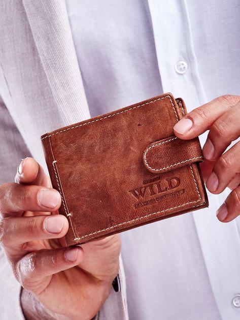 Jasnobrązowy skórzany portfel dla mężczyzny z klapką
