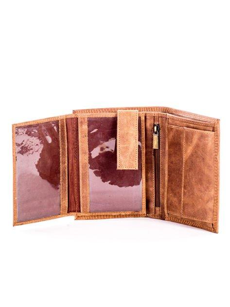 Jasnobrązowy skórzany portfel z cieniowaniem                              zdj.                              5