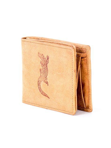 Jasnobrązowy skórzany portfel z tłoczonym krokodylem                              zdj.                              3