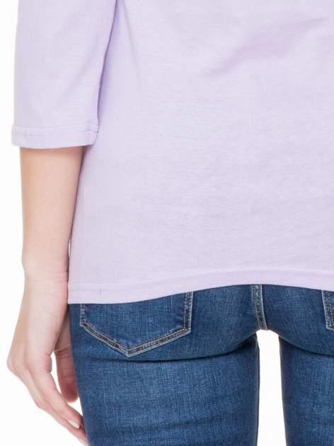 Jasnofioletowa basicowa gładka bluzka z rękawem 7/8                                  zdj.                                  6