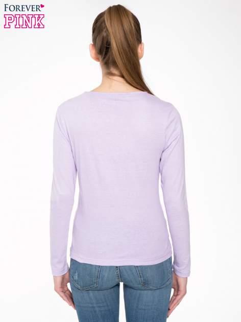 Jasnofioletowa bawełniana bluzka typu basic z długim rękawem                                  zdj.                                  4