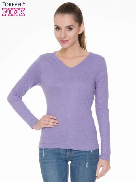 Jasnofioletowa bluzka z długim rękawem z bawełny                                  zdj.                                  1