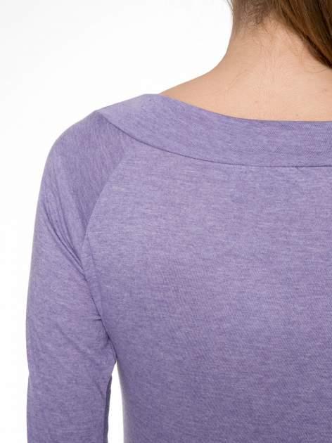 Jasnofioletowa gładka bluzka z reglanowymi rękawami                                  zdj.                                  7